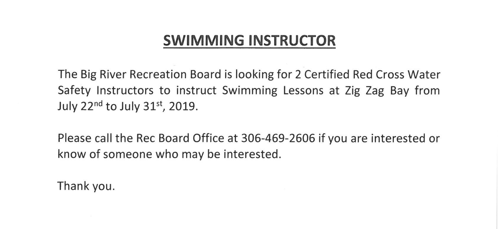 Swimming Instructor 2019